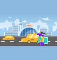 transfer to airport with taxi service flat vector image