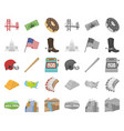 usa country cartoonmono icons in set collection vector image vector image