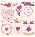 wedding set with bouquets birds hearts arrows vector image vector image