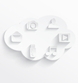 White cloud computing symbols vector image