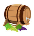 wine barrel and grapes vector image