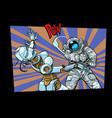 astronaut beats up female robot domestic violence vector image
