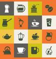 multicolor coffee icons set vector image