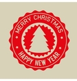merry christmas happy new year red badge vector image