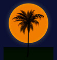 silhouette of palm trees against the sun vector image