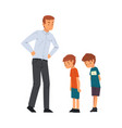 angry father scolding his naughty sons vector image vector image