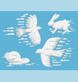 animal clouds silhouette pattern vector image vector image