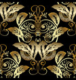 baroque gold 3d seamless pattern vector image vector image