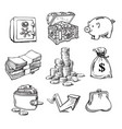 black and white business money set vector image