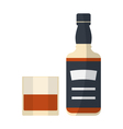 bottle and glass icon vector image vector image