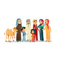 cartoon arab family characters camel set vector image vector image