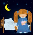 Cartoon sleepy girl near bed vector image vector image