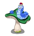 Cheerful blue worm character on green mushroom vector image vector image