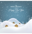 Christmas mountain village huts trees landscape vector image vector image