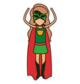 colorful silhouette with superhero faceless woman vector image