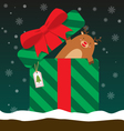 cute fat big reindeer come out of gift box vector image