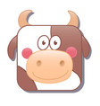 cute square cow or bull isolated on vector image vector image