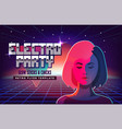 electro party music poster template violet neon vector image