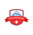 emblem of swiss mountains vector image vector image