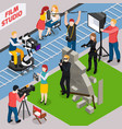 film studio isometric composition vector image vector image