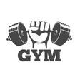 fitness gym or athletic club emblem with fist vector image