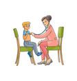 flat female doctor and teen boy kid vector image vector image
