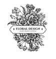 floral bouquet design with black and white wax vector image