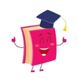Funny book character in graduation cap showing vector image vector image