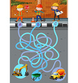 Game template with construction workers and tools vector image