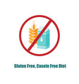 gluten and casein free icon crosed sign with pack vector image vector image