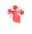 graphics heart with flowers vector image vector image