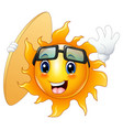 happy cartoon sun character with surfboard vector image vector image