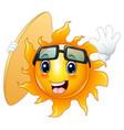 happy cartoon sun character with surfboard vector image