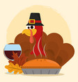 happy thanksgiving day turkey with hat cake wine vector image vector image