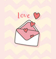 happy valentines day with pink open envelope vector image