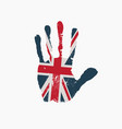 imprint a human hand in colors uk flag vector image vector image