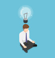 isometric businessman doing meditation and get vector image