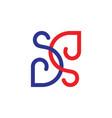 letters sd linked curves line loop design logo vector image vector image