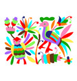 mexican tribal embroidary otomi style pattern with vector image vector image