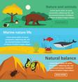 nature animals banner horizontal set flat style vector image vector image