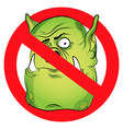 No monsters prohibited sign Troll face on white vector image vector image