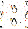 pattern with penguin and ice cream vector image vector image