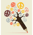 Peace icon tree pencil concept vector image vector image