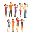 people drinking water from plastic bottles and vector image