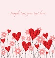 Poly hearts with flowers vector image vector image