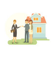 real estate agent showing the house that he sale vector image vector image
