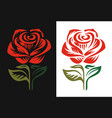 red rose logo emblem on black and white background vector image