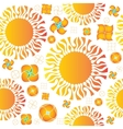 seamless pattern of orange sun and vector image