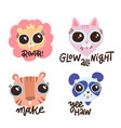 set fanny animals with shirt lettering quotes vector image vector image