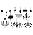 Sets of silhouette Chandelier and lamp vector image vector image